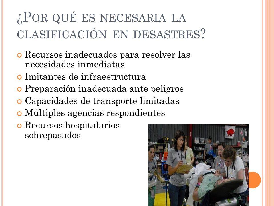 ¿Por qué es necesaria la clasificación en desastres