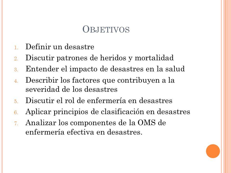 Objetivos Definir un desastre