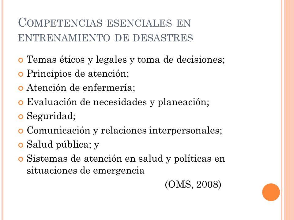 Competencias esenciales en entrenamiento de desastres