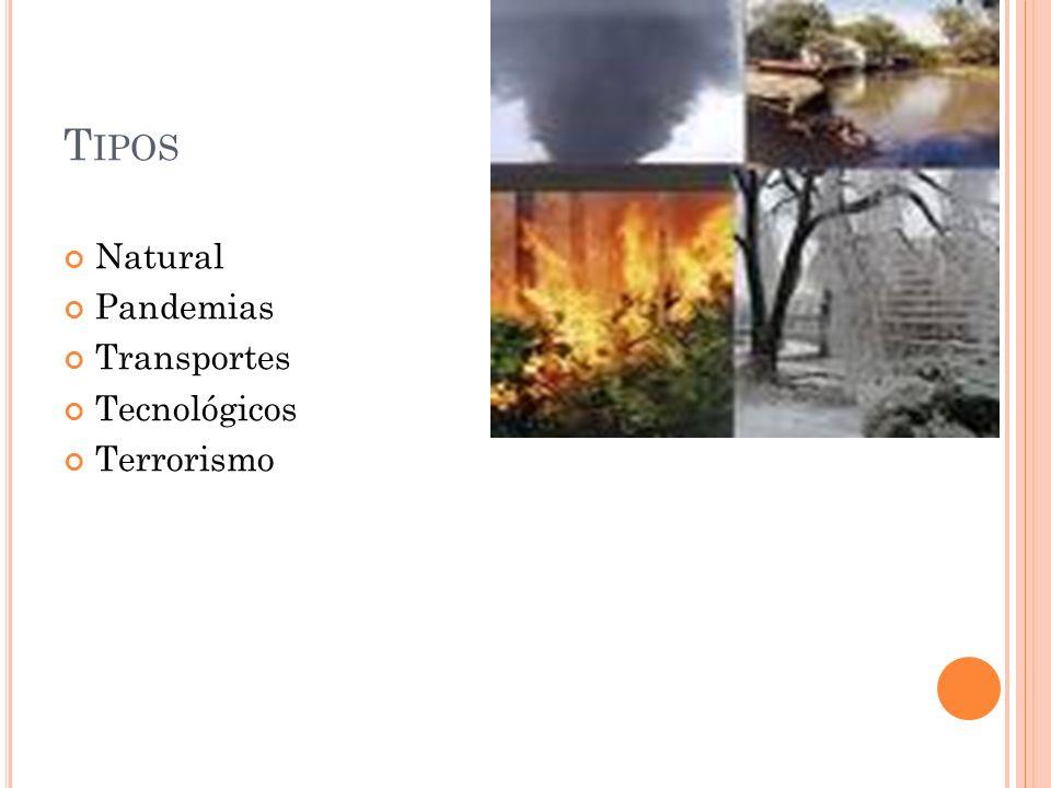 Tipos Natural Pandemias Transportes Tecnológicos Terrorismo