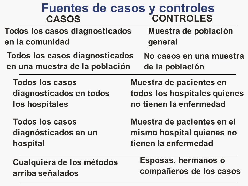 Fuentes de casos y controles