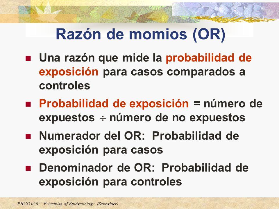Razón de momios (OR) Una razón que mide la probabilidad de exposición para casos comparados a controles.