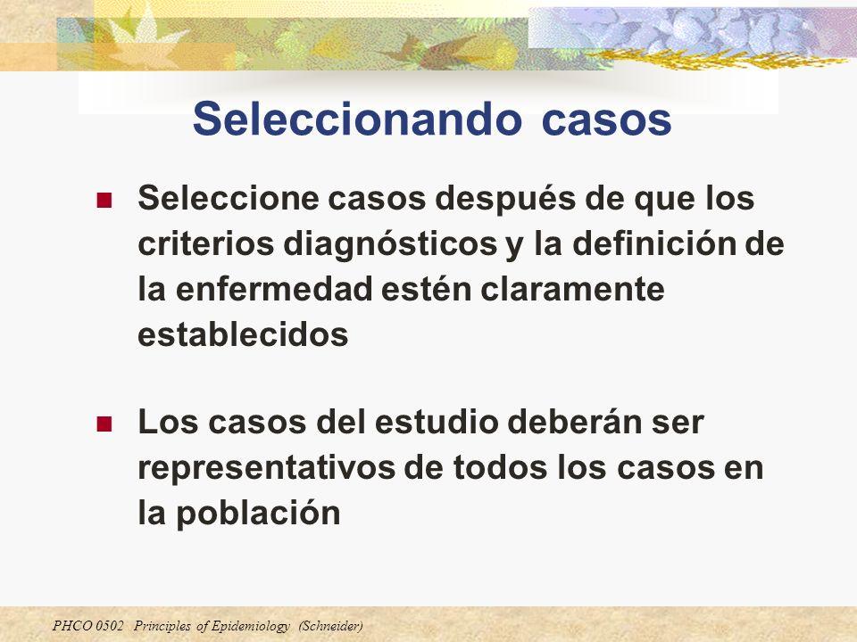 Seleccionando casos Seleccione casos después de que los criterios diagnósticos y la definición de la enfermedad estén claramente establecidos.