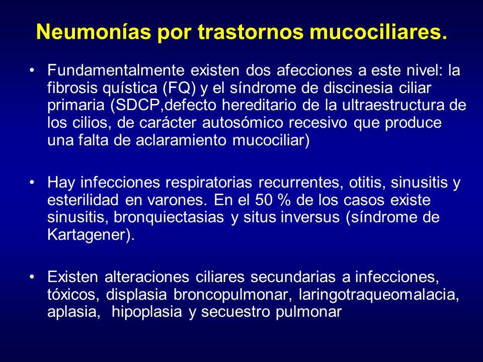 Neumonías por trastornos mucociliares.
