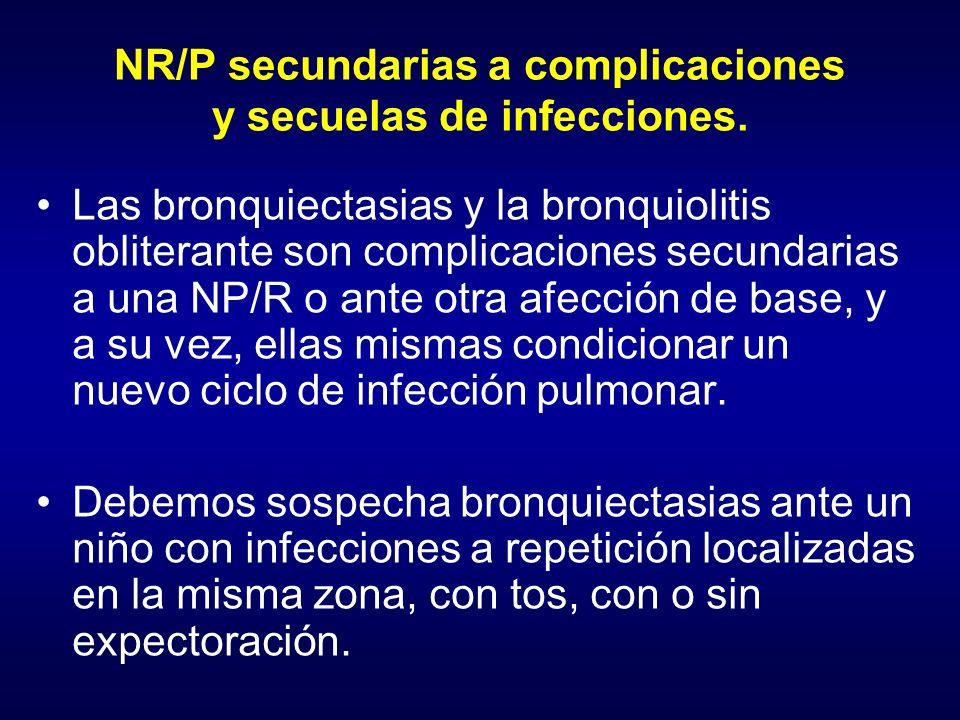 NR/P secundarias a complicaciones y secuelas de infecciones.