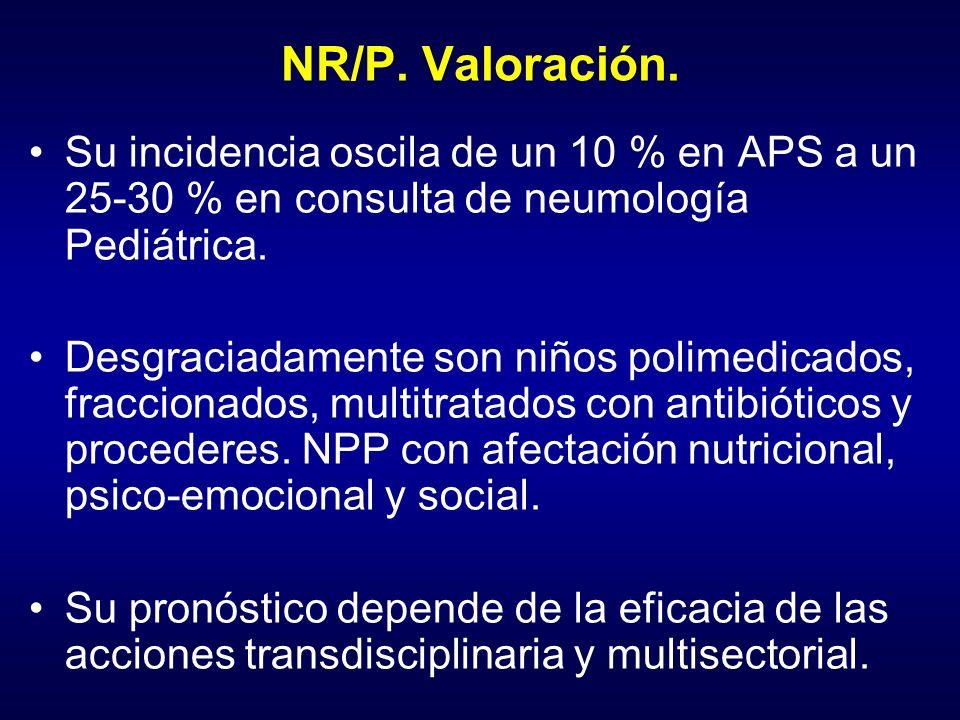 NR/P. Valoración. Su incidencia oscila de un 10 % en APS a un 25-30 % en consulta de neumología Pediátrica.