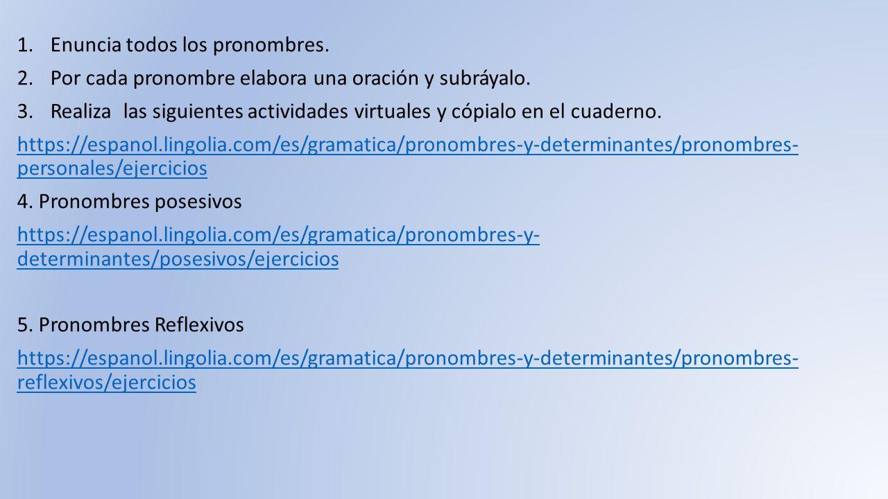 Determinantes Y Pronombres Ejercicios