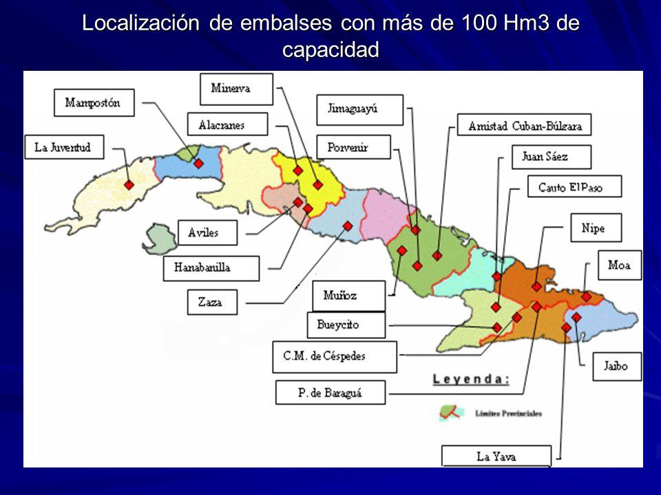 Localización de embalses con más de 100 Hm3 de capacidad
