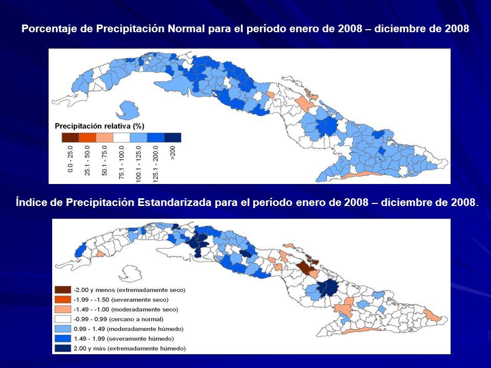 Porcentaje de Precipitación Normal para el período enero de 2008 – diciembre de 2008