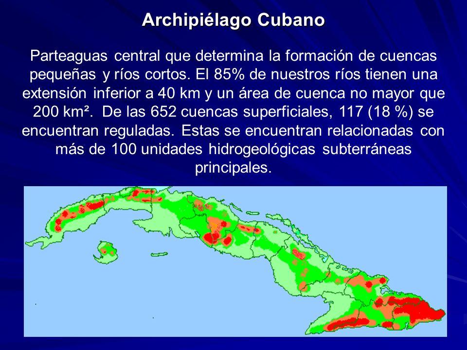 Archipiélago Cubano Parteaguas central que determina la formación de cuencas pequeñas y ríos cortos.