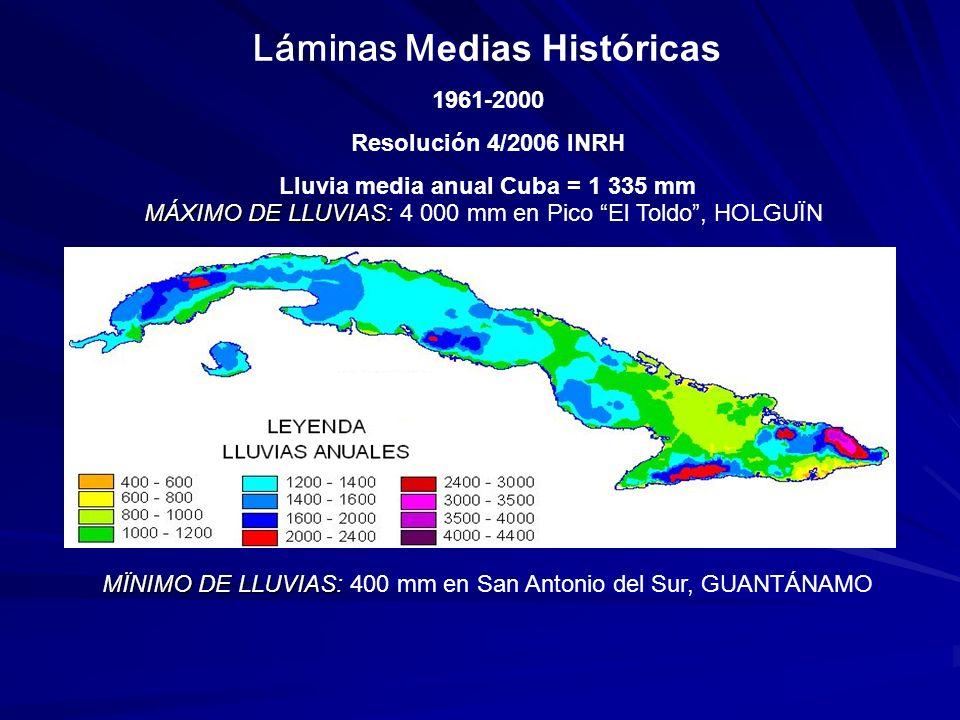 Láminas Medias Históricas Lluvia media anual Cuba = 1 335 mm