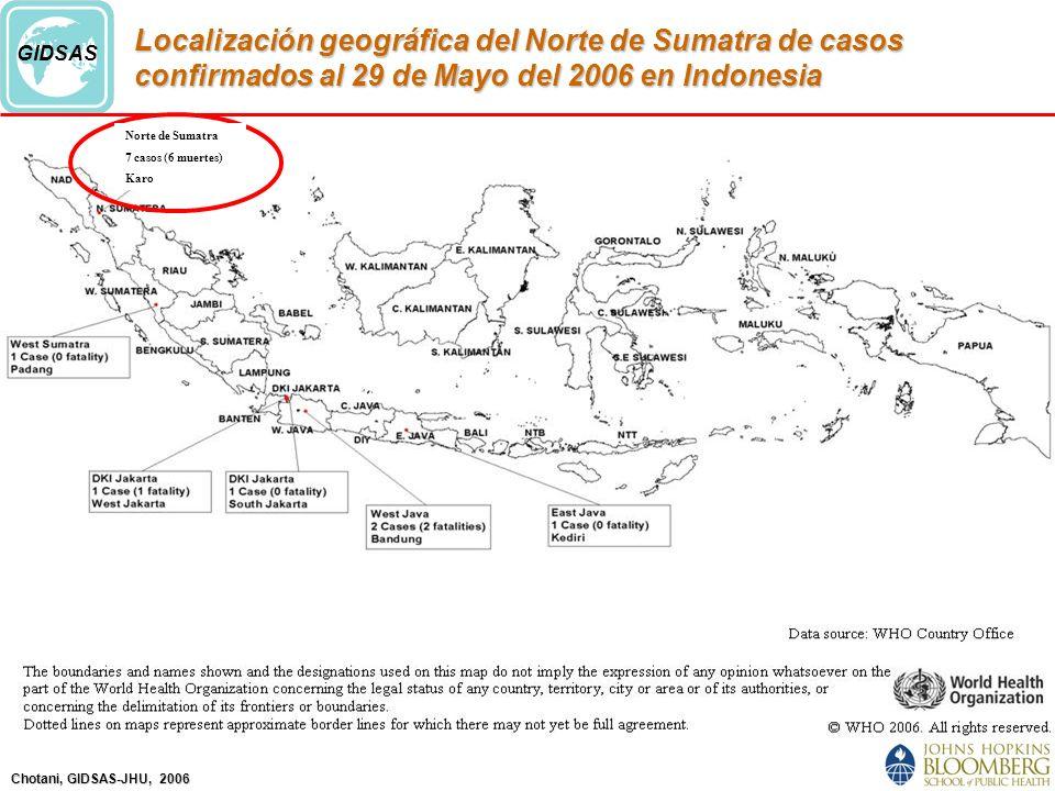 Localización geográfica del Norte de Sumatra de casos confirmados al 29 de Mayo del 2006 en Indonesia