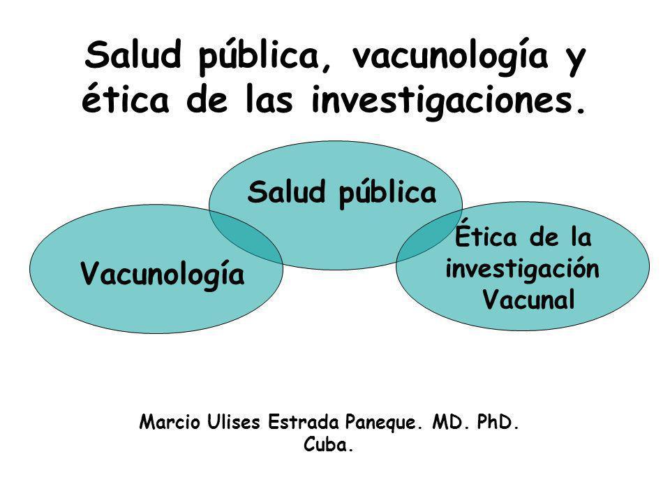 Salud pública, vacunología y ética de las investigaciones.