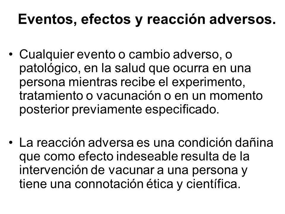 Eventos, efectos y reacción adversos.