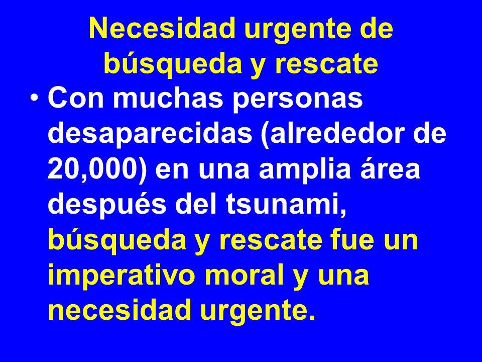 Necesidad urgente de búsqueda y rescate