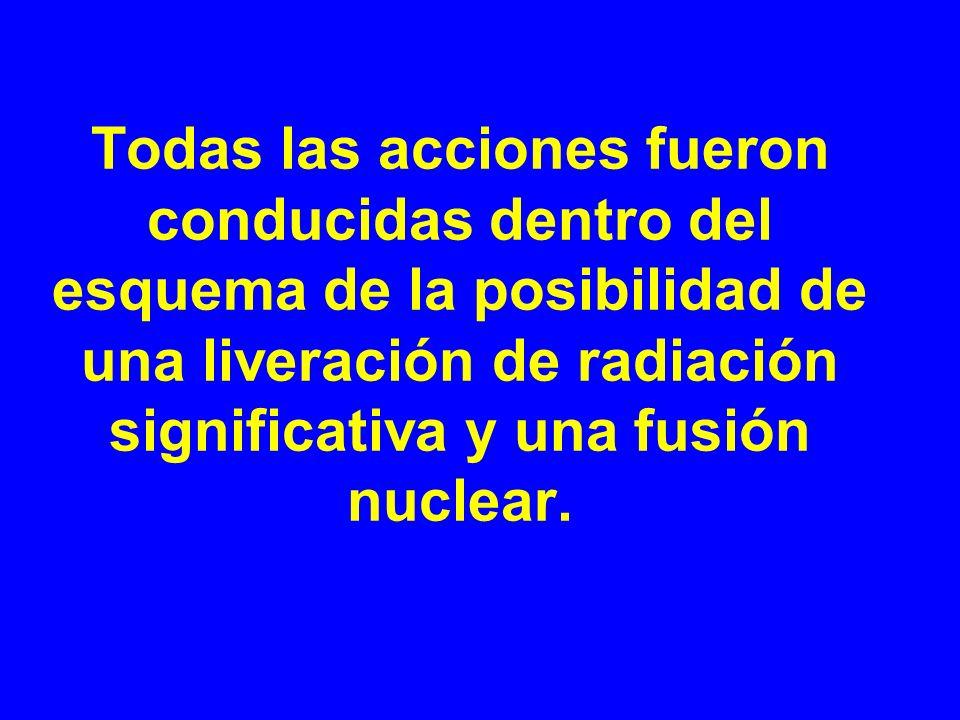 Todas las acciones fueron conducidas dentro del esquema de la posibilidad de una liveración de radiación significativa y una fusión nuclear.
