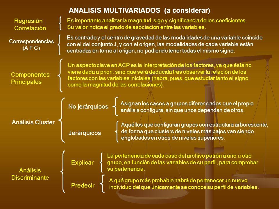 ANALISIS MULTIVARIADOS (a considerar)