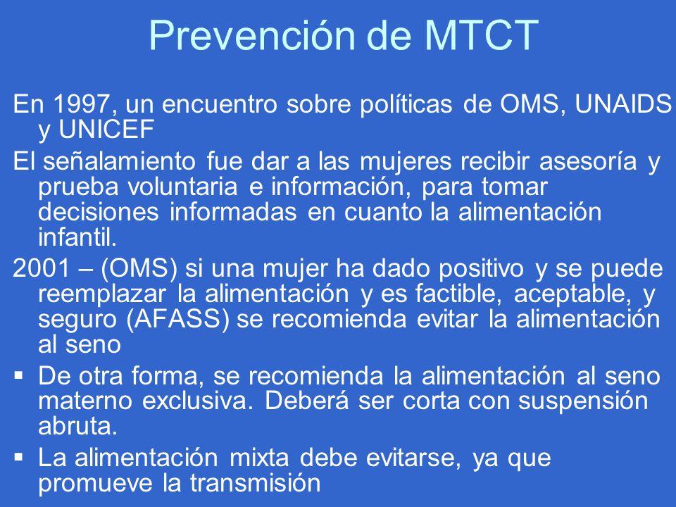 Prevención de MTCT En 1997, un encuentro sobre políticas de OMS, UNAIDS y UNICEF.