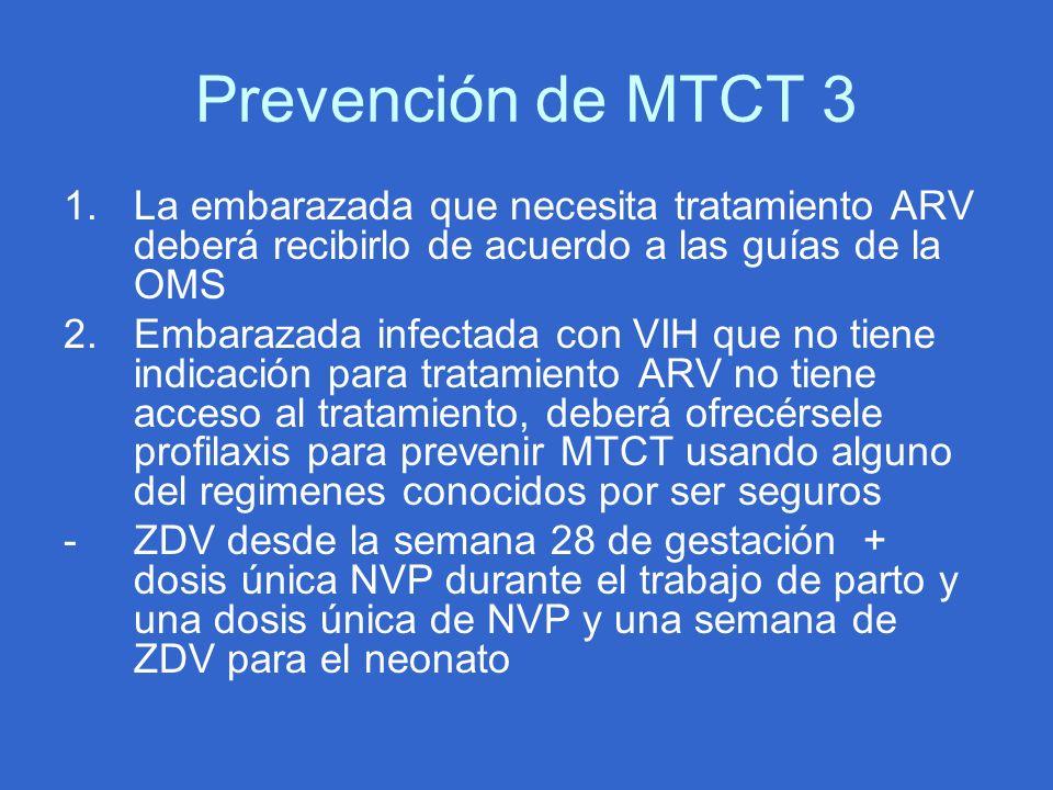 Prevención de MTCT 3 La embarazada que necesita tratamiento ARV deberá recibirlo de acuerdo a las guías de la OMS.