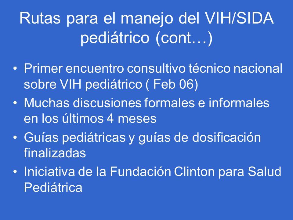 Rutas para el manejo del VIH/SIDA pediátrico (cont…)