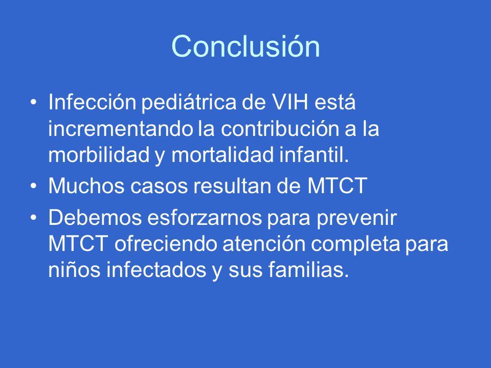 Conclusión Infección pediátrica de VIH está incrementando la contribución a la morbilidad y mortalidad infantil.