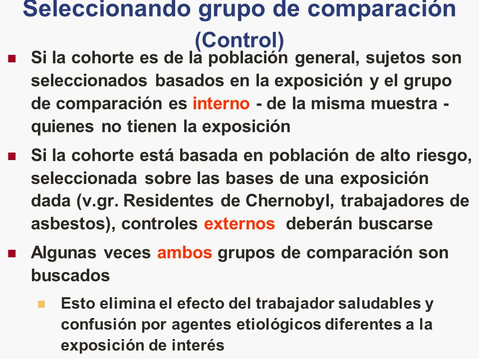 Seleccionando grupo de comparación (Control)