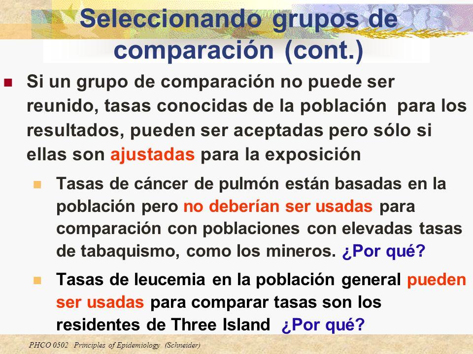 Seleccionando grupos de comparación (cont.)