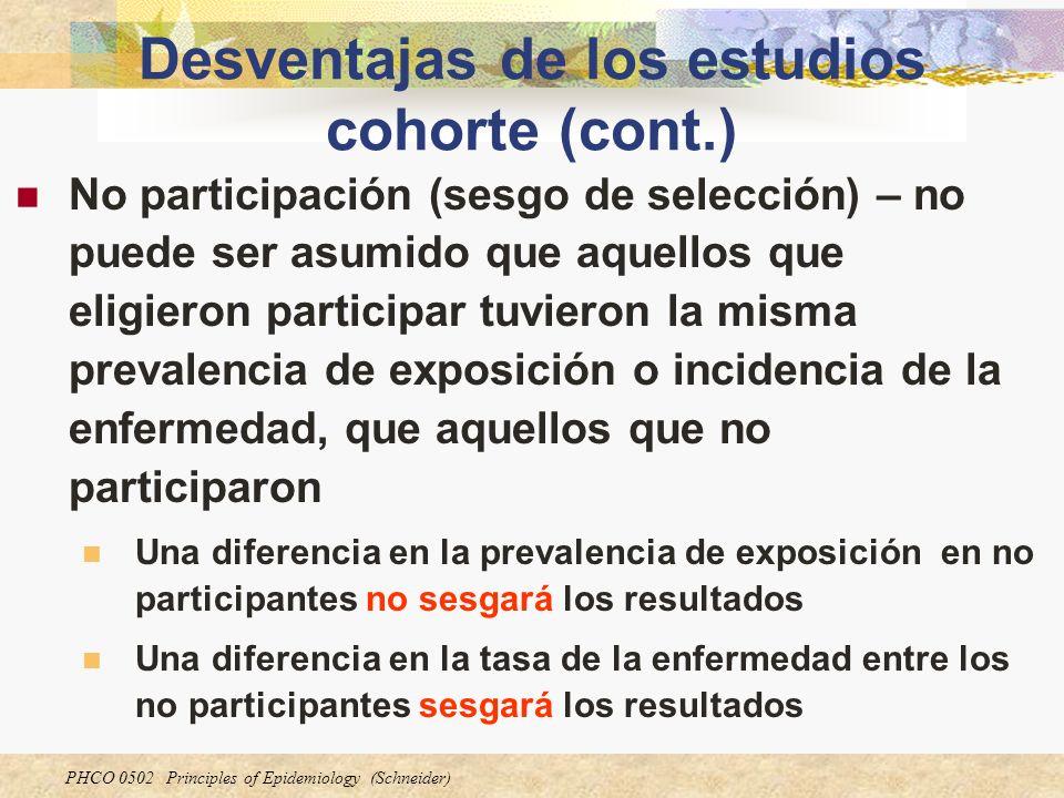 Desventajas de los estudios cohorte (cont.)