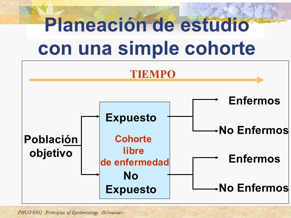 Planeación de estudio con una simple cohorte