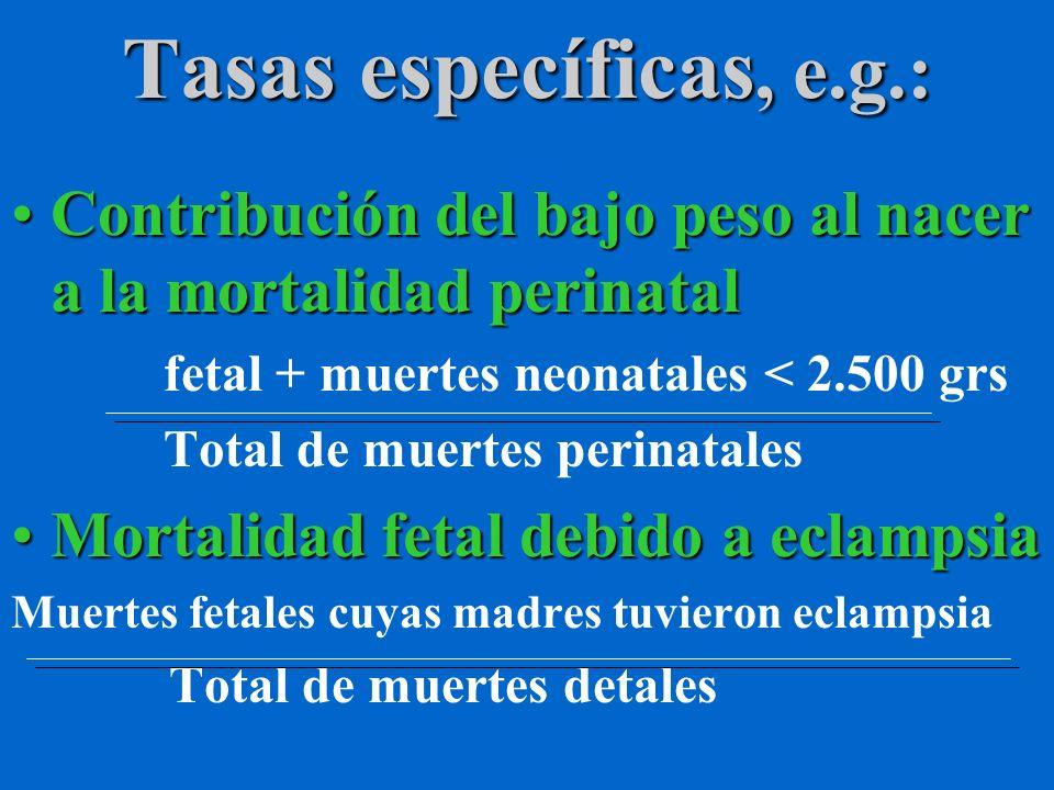 Tasas específicas, e.g.:Contribución del bajo peso al nacer a la mortalidad perinatal. fetal + muertes neonatales < 2.500 grs.