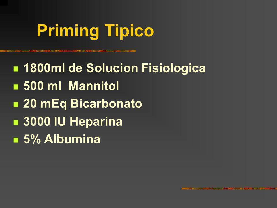 Priming Tipico 1800ml de Solucion Fisiologica 500 ml Mannitol
