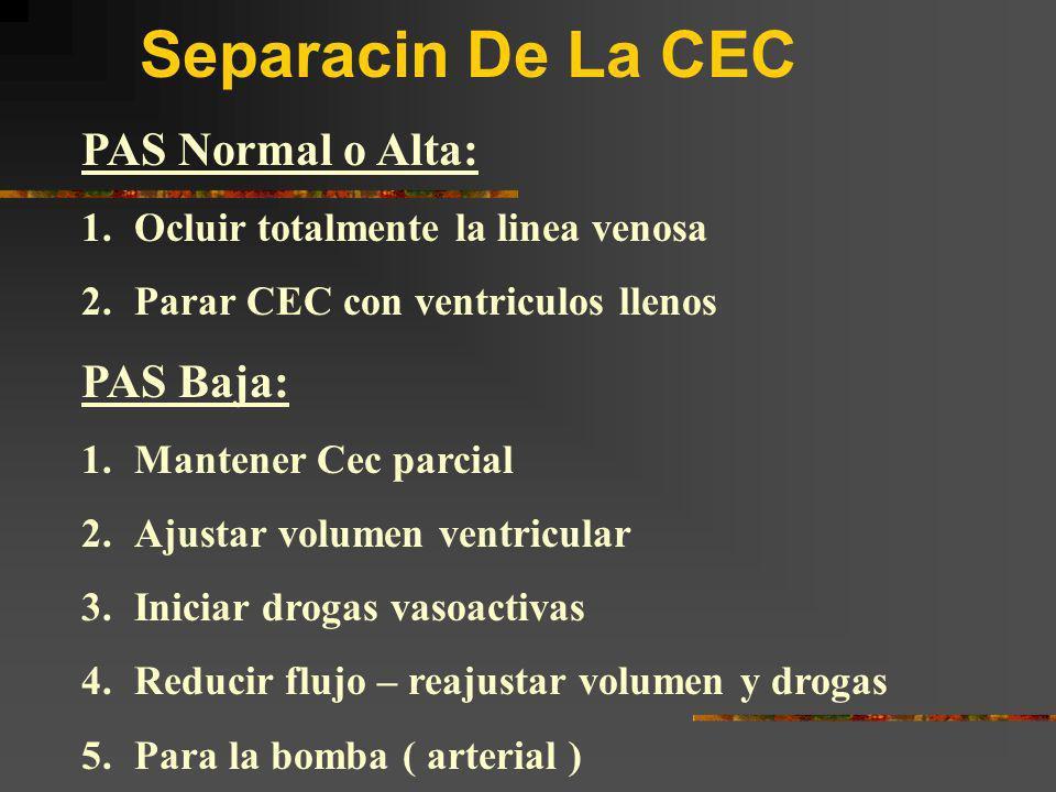 Separacin De La CEC PAS Normal o Alta: PAS Baja: