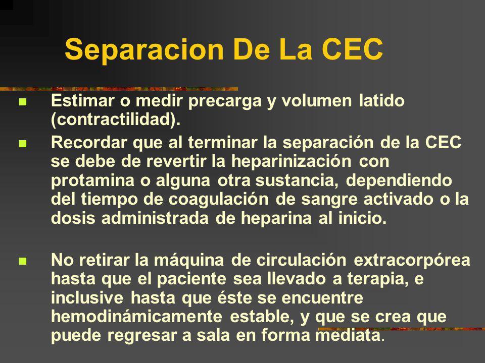 Separacion De La CEC Estimar o medir precarga y volumen latido (contractilidad).