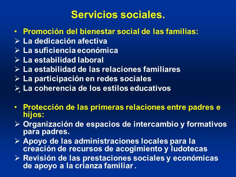 Servicios sociales. Promoción del bienestar social de las familias: