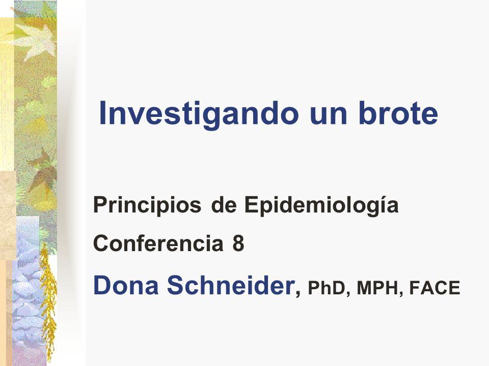 Investigando un brote Dona Schneider, PhD, MPH, FACE