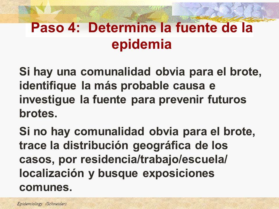 Paso 4: Determine la fuente de la epidemia