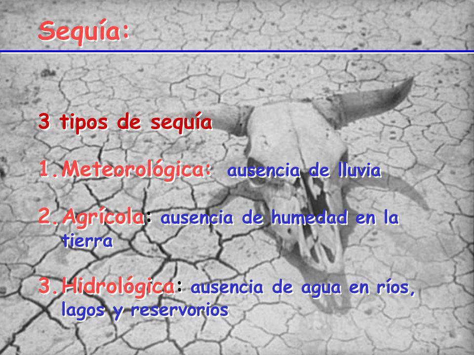 Sequía: 3 tipos de sequía Meteorológica: ausencia de lluvia