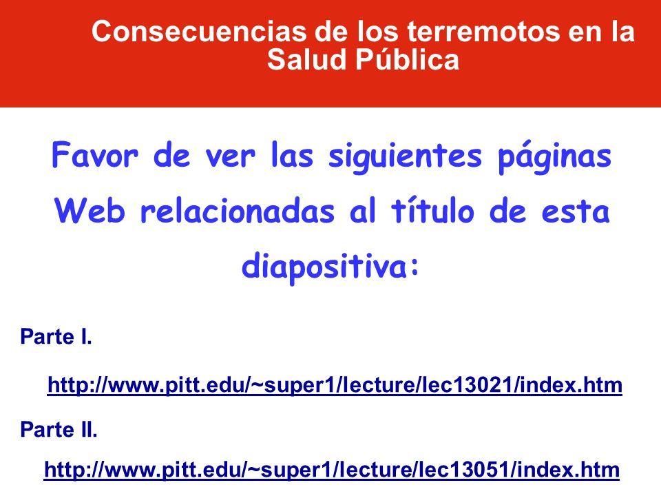 Consecuencias de los terremotos en la Salud Pública