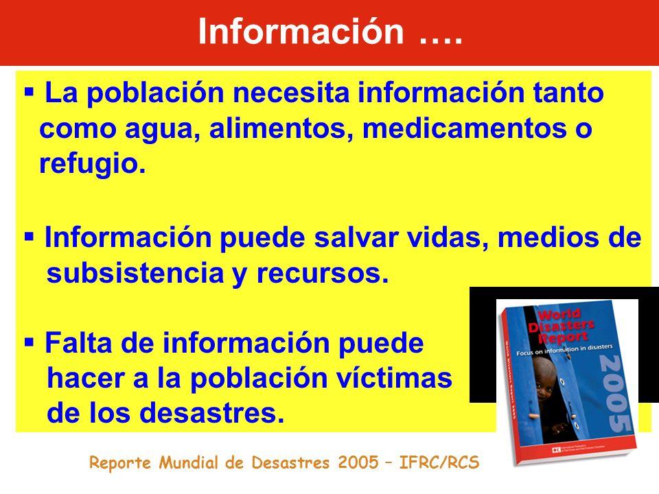 Información …. La población necesita información tanto