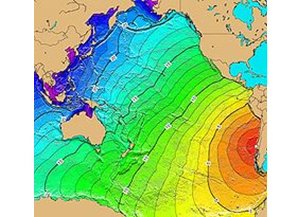 Mapa que muestra el tiempo de viaje del tsunami a través del Pacífico y más allá. Las líneas son de intérvalos de una hora durante el terremoto de 1960.