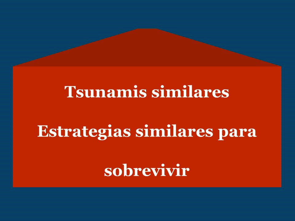 Tsunamis similares Estrategias similares para sobrevivir
