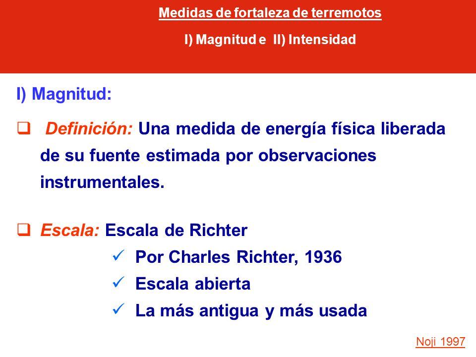 Medidas de fortaleza de terremotos I) Magnitud e II) Intensidad