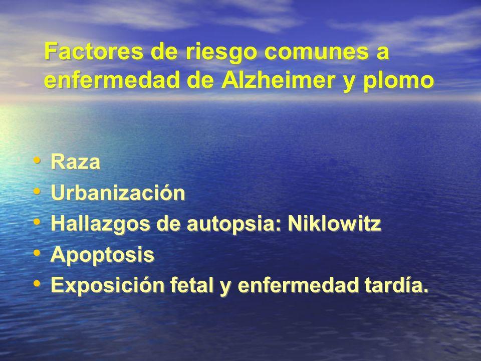 Factores de riesgo comunes a enfermedad de Alzheimer y plomo