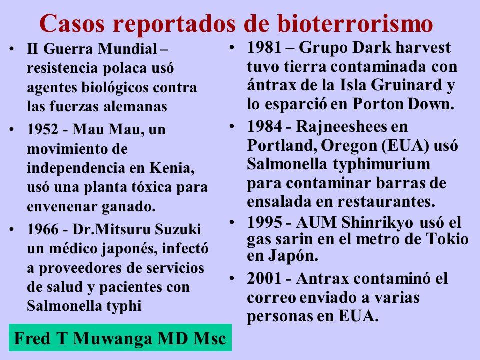 Casos reportados de bioterrorismo