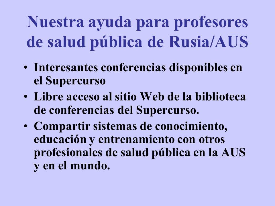 Nuestra ayuda para profesores de salud pública de Rusia/AUS