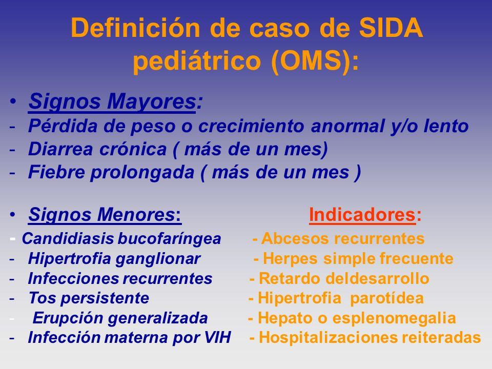 Definición de caso de SIDA pediátrico (OMS):