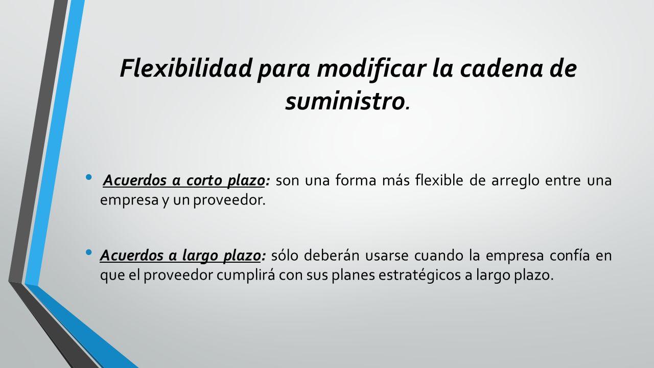 Flexibilidad para modificar la cadena de suministro.