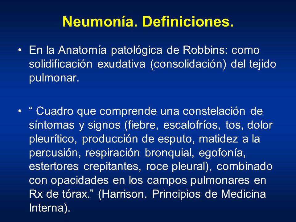Neumonía. Definiciones.