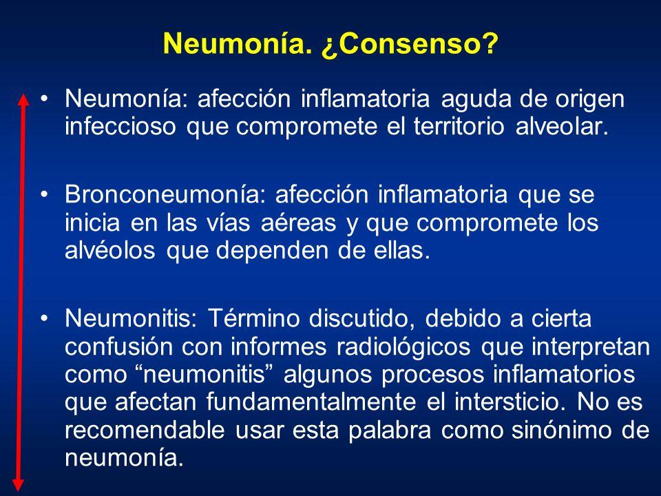 Neumonía. ¿Consenso Neumonía: afección inflamatoria aguda de origen infeccioso que compromete el territorio alveolar.