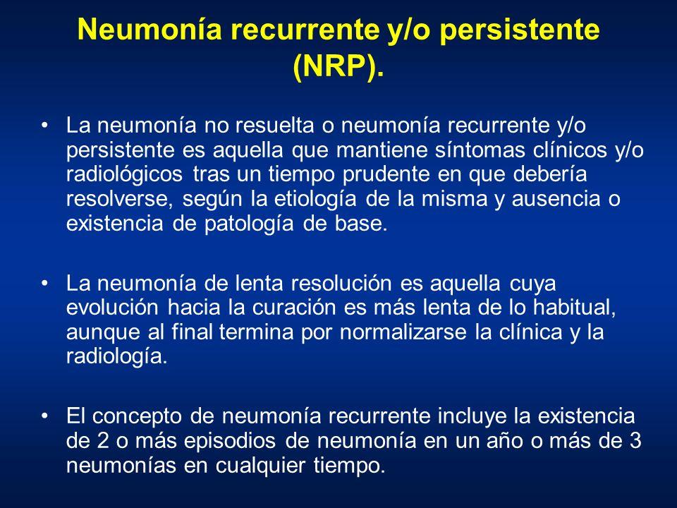Neumonía recurrente y/o persistente (NRP).
